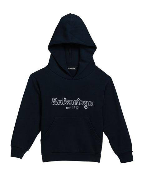 Balenciaga Boy's Logo Embroidered Hoodie, Size 2-10