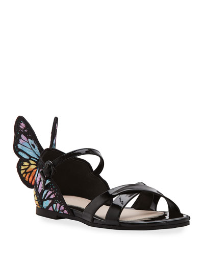 Chiara Patent Leather Embroidered Butterfly-Wing Sandals  Toddler/Kids