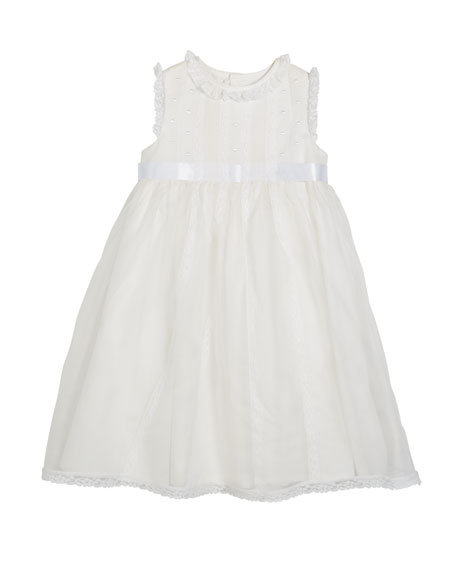 Luli & Me Lace-Trim Sleeveless Organza Dress, Size 5-6X