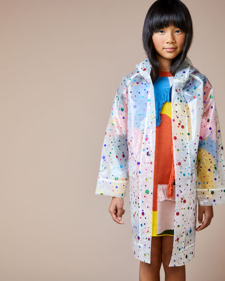 Stella McCartney Kids Girl's Foil Dot Print Transparent Raincoat, Size 4-14