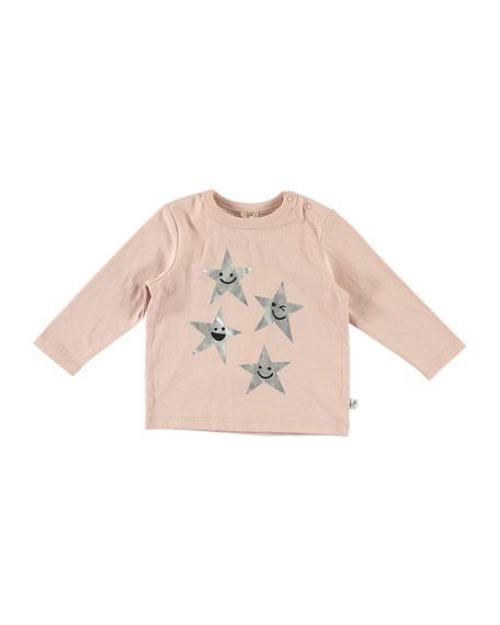 Stella McCartney Kids Metallic Star Print Long-Sleeve Tee, Size 6-36 Months
