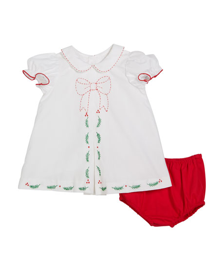 Luli & Me Merrymaker Peter Pan-Collar Dress w/ Bloomers, Size 9-24 Months