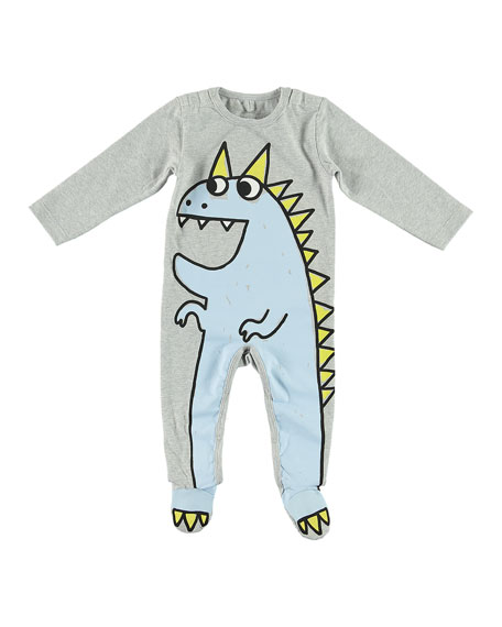 Stella McCartney Kids Dragon Cartoon Graphic Footie Pajamas, Size 3-9 Months