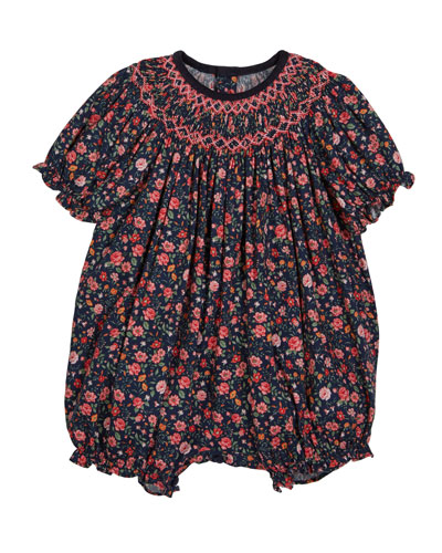 Floral Smocked Bubble Romper  Size 6-24 Months