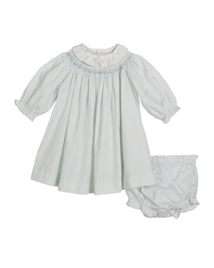 125f3accc Luli & Me Bishop Long-Sleeve Floral Smocked Dress w/ Bloomers, Size 3
