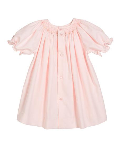 Luli & Me Smocked Bishop Dress w/ Matching Bonnet, Size Newborn-9 Months