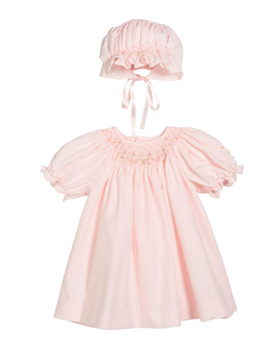 Smocked Bishop Dress w/ Matching Bonnet  Size Newborn-9 Months