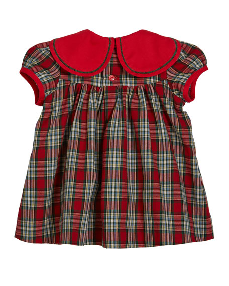 Luli & Me Petal Collar Tartan Plaid Dress w/ Bloomers, Size 9-24 Months