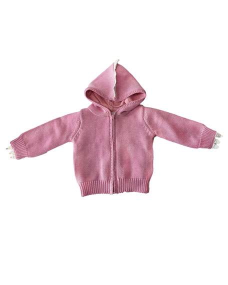 Stella McCartney Kids Girl's Knit Hooded Crochet Spike Cardigan w/ Matching Footed Pants, Size 3-9 Months