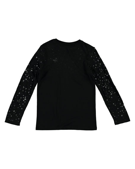 Stella McCartney Kids Long-Sleeve Devore Stars Tee, Size 4-14