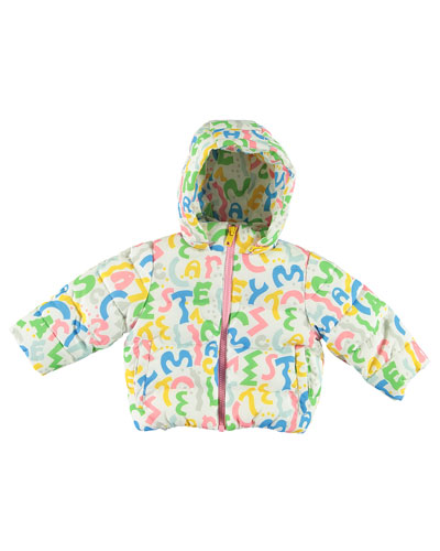 Girl's Squiggle Logo Letter Puffer Jacket, Size 12-36 Months