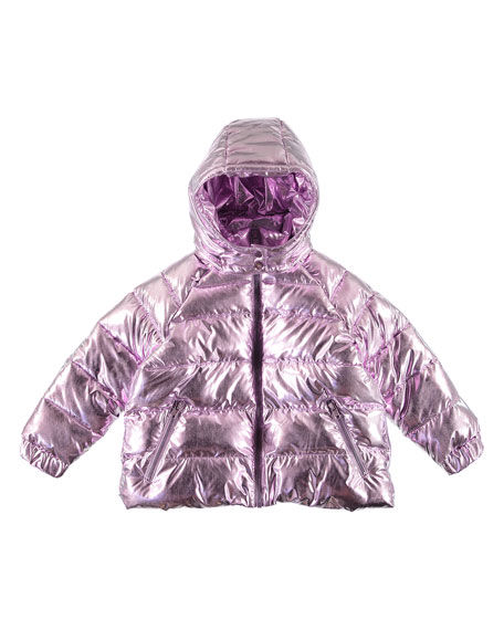 Stella McCartney Kids Girl's Metallic Hooded Puffer Jacket, Size 4-14