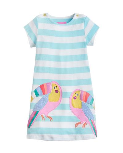 Kaye Short-Sleeve Striped Dress w/ Toucan Appliques, Size 2-6