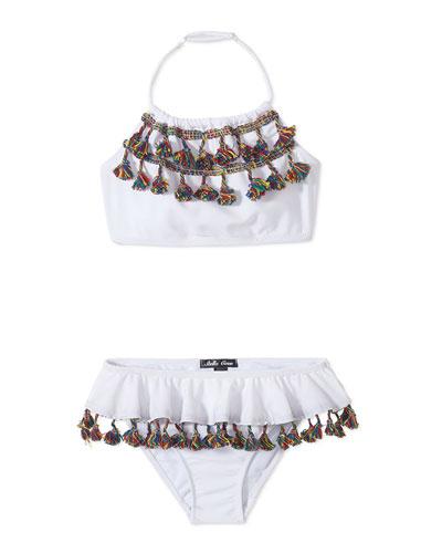 Girls' Tassel Draped Bikini Two-Piece Swim Set  4T-12
