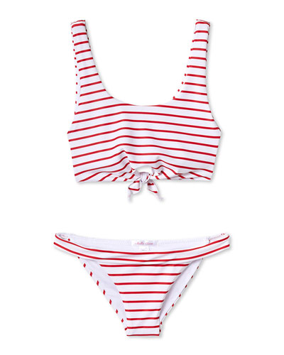Girls' Red And Striped Bikini Two-Piece Swim Set  4T-12
