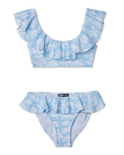 Skies Draped Bikini Two-Piece Swim Set, Toddler Girl