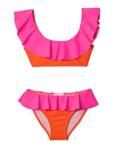 Girls' Neon Bikini Two-Piece Swim Set  2-14