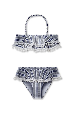 Stella Cove Girls' Striped Bikini With Pompom Two-Piece Swim Set, 2-12