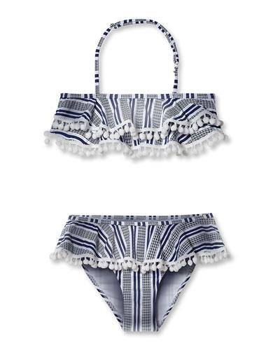 Striped Bikini With Pompom Two-Piece Swim Set, Toddler Girl