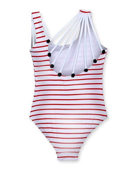 Stella Cove Girls' Striped Shoulder-String One-Piece Swimsuit, 2-10