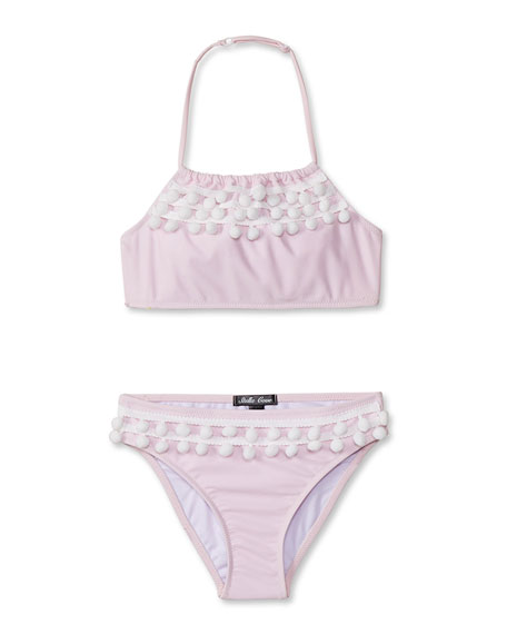 Stella Cove Girls' Pompom Bikini Two-Piece Swim Set, 4T-14