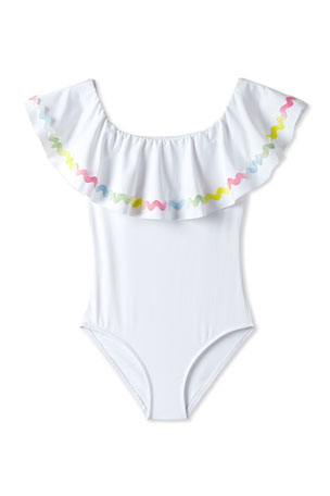 Stella Cove Girls' Rainbow Ricrac One-Piece Swimsuit, 2-10