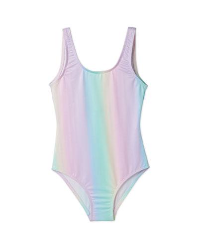 Girls' Rainbow Tank One-Piece Swimsuit  2-14