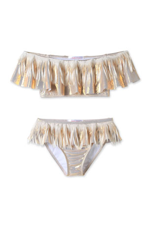 Stella Cove Metallic Fringe Two-Piece Bikini Set, Size 4T-14
