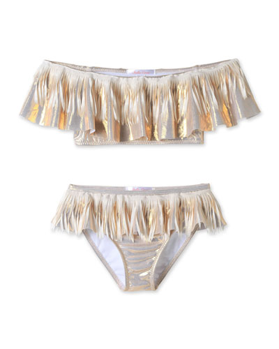 Metallic Fringe Two-Piece Bikini Set  Size 4T-14