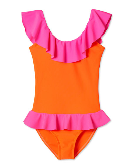 Stella Cove Two-Tone Flared One-Piece Swimsuit, Size 2-12