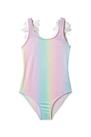 Stella Cove Girls' Rainbow One-Piece Swimsuit with Petals, 2-14