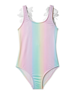 f1fd442260 Stella Cove Rainbow One-Piece Swimsuit with Petals, Toddler Girl