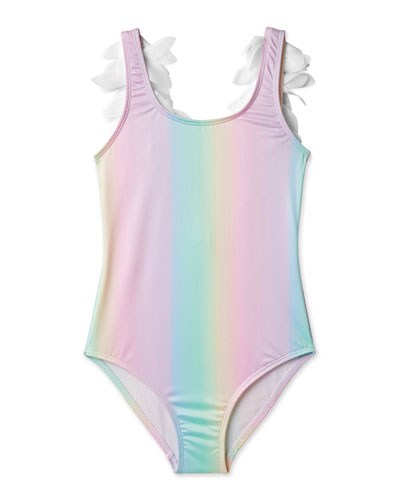 Girls' Rainbow One-Piece Swimsuit with Petals  2-14