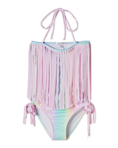 Rainbow Open-Back One-Piece Swimsuit, Toddler Girl