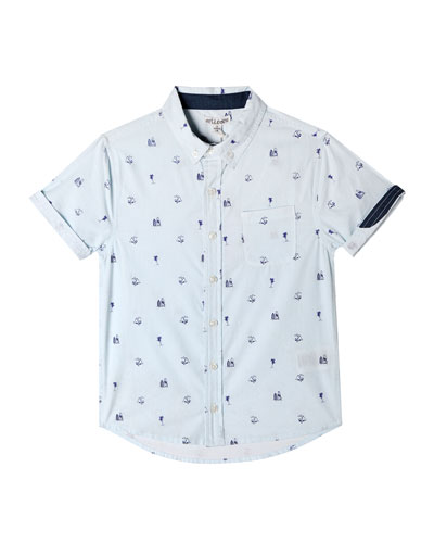 Parker Beach Icon Print Short-Sleeve Collared Shirt  Size 2-10