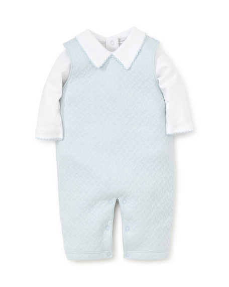 Kissy Kissy Jacquard Overalls w/ Long-Sleeve Bodysuit, Size 0-9 Months