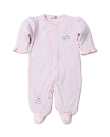 Kissy Kissy Oodles of Poodles Velour Embroidered Footie Playsuit, Size 0-9 Months