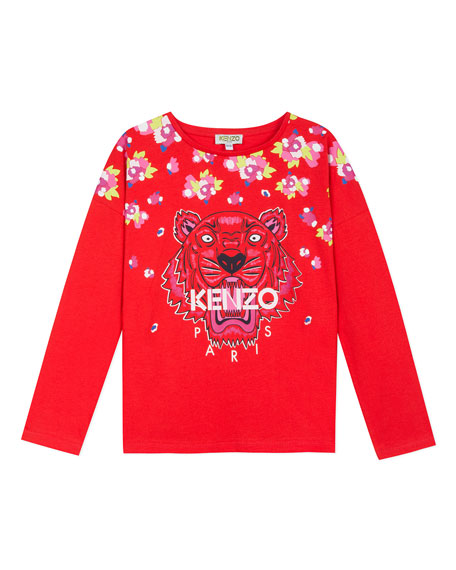 Kenzo Floral Tiger Print Tee, Size 8-12