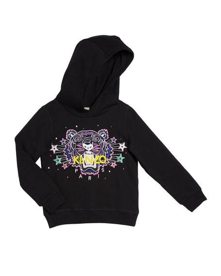 Kenzo Girl's Tiger Star Embroidered Hoodie, Size 8-12