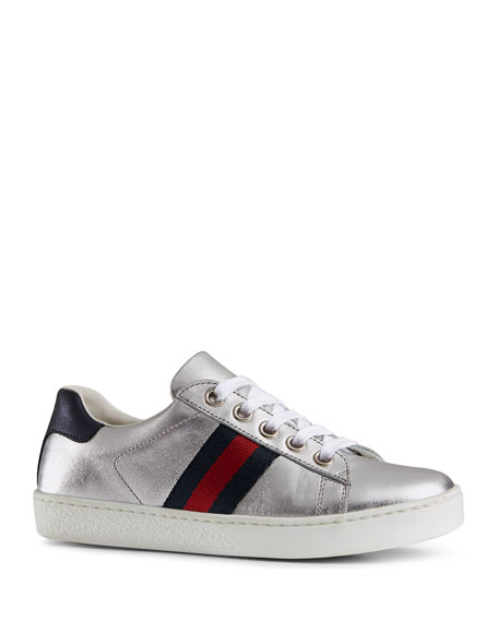 Gucci New Ace Metallic Leather Web Sneakers, Toddler/Kids