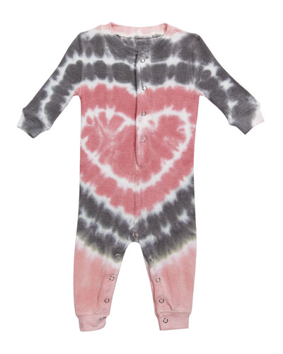 Girl's Heart Tie Dye Print Sleep Coverall, Size 3-18 Months