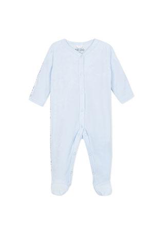 Kenzo Velour Footie Pajamas w/ Logo Taping, Size 3-9 Months