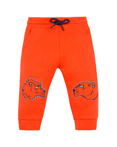Lion & Tiger Embroidered Sweatpants  Size 6-18 Months