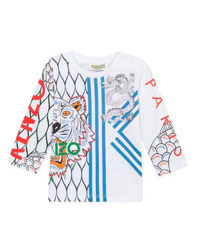 Boy's Multi Iconic Tiger Dragon Print Tee  Size 6-18 Months