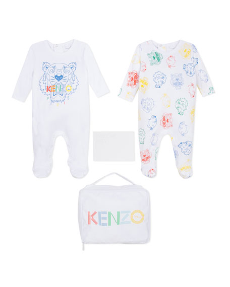 Kenzo 2-Piece Logo Footie Pajamas Set w/ Carrying Pouch, Size 1-6 Months