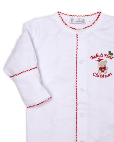 Kissy Kissy Baby's First Christmas Pima Footie Playsuit, Size Newborn-9 Months