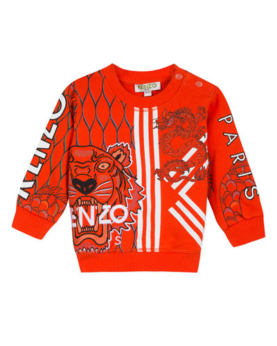 Multi-Iconic Tiger & Dragon Graphic Sweatshirt  Size 6-18 Months