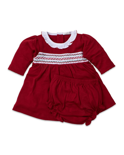 Smocked Long-Sleeve Holiday Dress w/ Bloomers  Size 0-18 Months