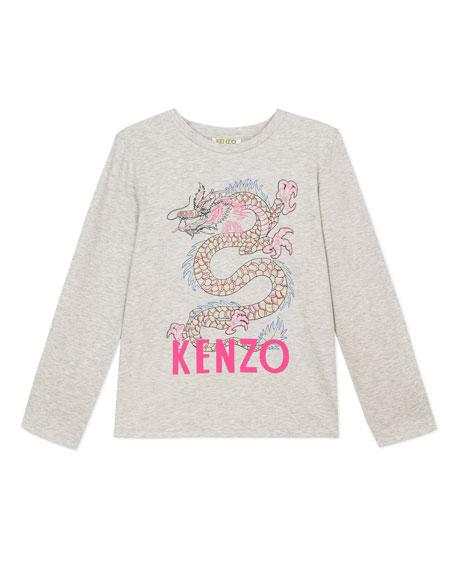 Kenzo Logo Dragon Graphic Tee w/ Cutaway Back, Size 8-12