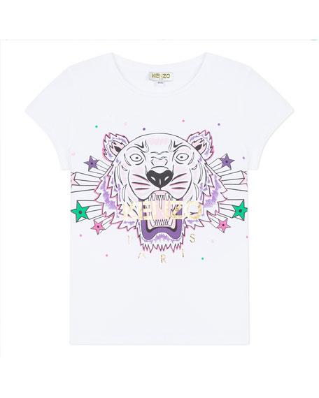 Kenzo Tiger & Stars Graphic Short-Sleeve Tee, Size 8-12